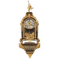Louis XIV Brass and Tortoiseshell Boulle Marquetry Striking Bracket Clock