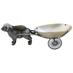 Edwardian Silver and Mother of Pearl Dog Pulling a Cart Pin Pin Cushion, 1908