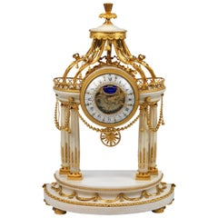 Louis XVI White Marble and Ormolu Portico Clock by J. S. Breant