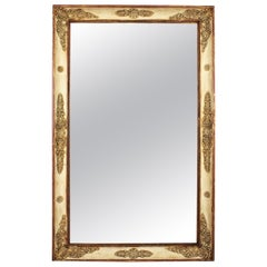 Large 19th Century French Empire Giltwood and Beige Rectangular Mirror