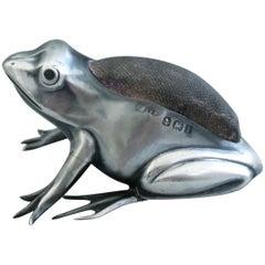 Edwardian Novelty Silver Frog Pin Cushion, Adie & Lovekin, Birmingham, 1908