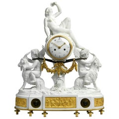 Louis XVI Ormolu and Biscuit Porcelain Mantel Clock by Guydamour