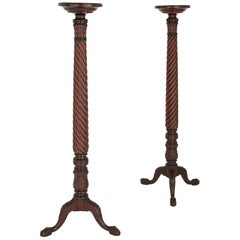 Two Victorian English Mahogany Candelabra Stands