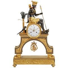 Directoire Ormolu Mantel Clock Representing America, by Armingaud L'Aine