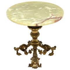 Antique French Gilt Metal and Onyx Side Table