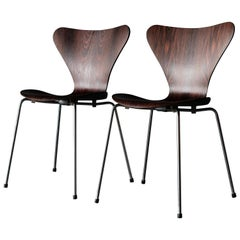Pair of Arne Jacobsen Chairs in Brazilian Rosewood