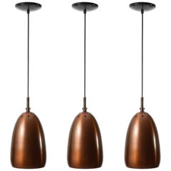 Three Patinated Copper Pendant Lights, 1960