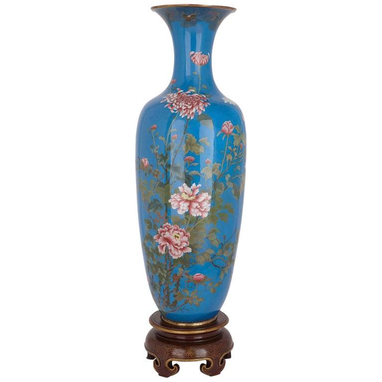 Very Large Japanese Meiji Period Enamel Vase For Sale