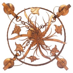 Rustic Round Gilt Iron Tole or Candle Floral Large Chandelier, Spain, 1850s