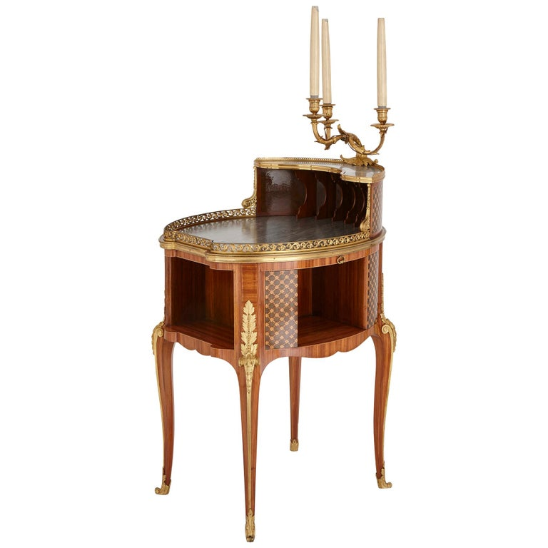 Gilt Bronze-Mounted Tulipwood, Sycamore and Marquetry Writing Table by Dasson  For Sale