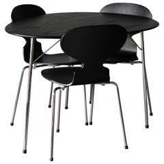 "Arne Jacobsen Anniversary Set, 3 ""Ant"" Chairs and Table"