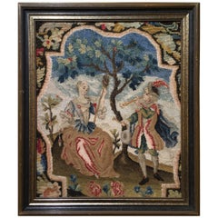 Antique 18th Century Needlework Tapestry Picture