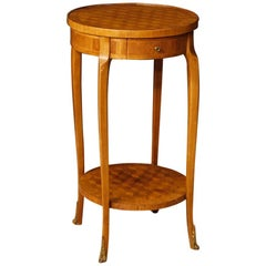 20th Century Inlaid Mahogany, Rosewood, Maple, Fruitwood French Side Table, 1960
