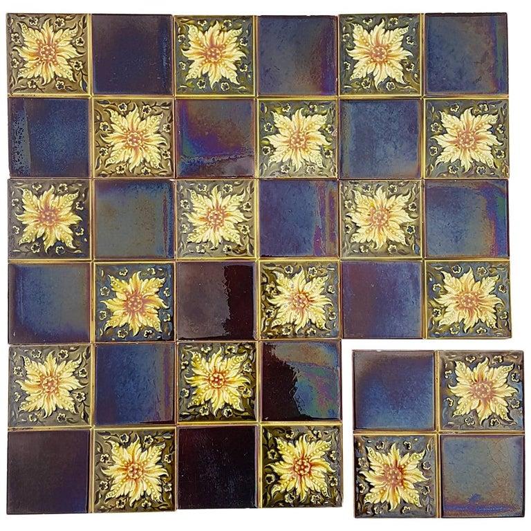 Panel of 9 Glazed Art Deco Relief Tiles by S.A. Des Pavillions, 1930s For Sale