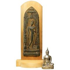 Votive Plaque with Walking Buddha in Sukhothai Style and Silvered Seated Buddha