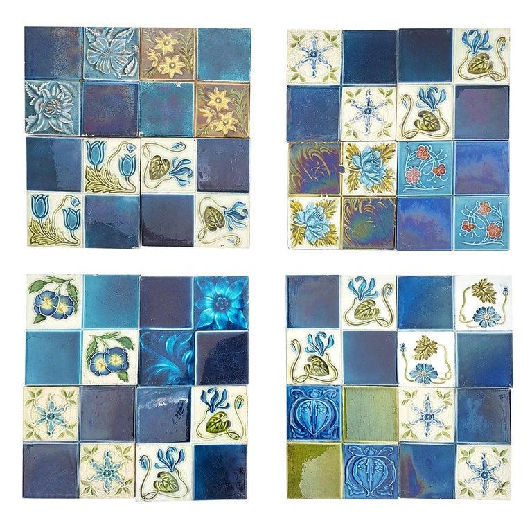 Panel of 16 Authentic Glazed Jugendstil Relief Tiles, circa 1930s For Sale