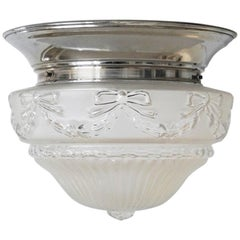 French Art Deco Frosted Relief Glass Ceiling Light Fixture with Nickel Fitting