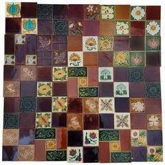 Panel of 25 Authenthic Handmade Jugendstil Relief Tiles, France, circa 1930