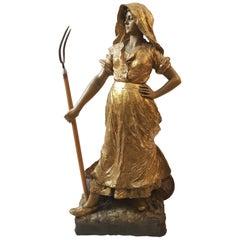 Goldscheider Gold Farmer Terracotta Sculpture, 1890s