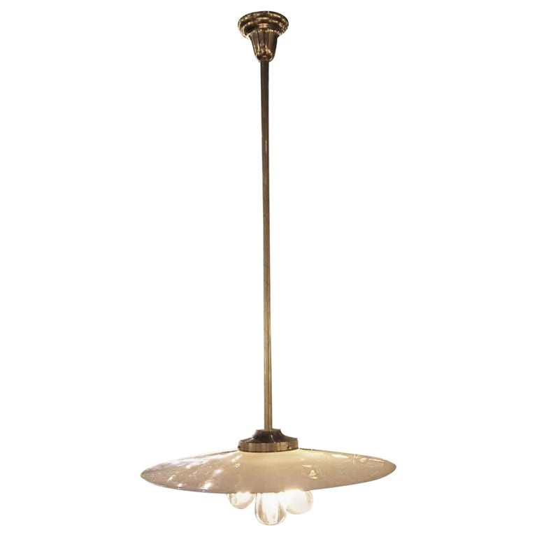 1930s Milk Glass Industrial Brass Benjamin Saucer Pendant Light with 3 Lights For Sale