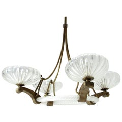 Italian Midcentury Murano Glass and Brass Chandelier, 1930s