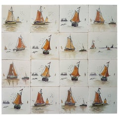 Panel of 16 Old French Hand Painted Tiles by Helman, 1930s