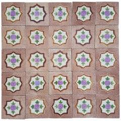 Panel of 25 Authenthic Glazed Art Deco Relief Tiles, Belga, circa 1930s