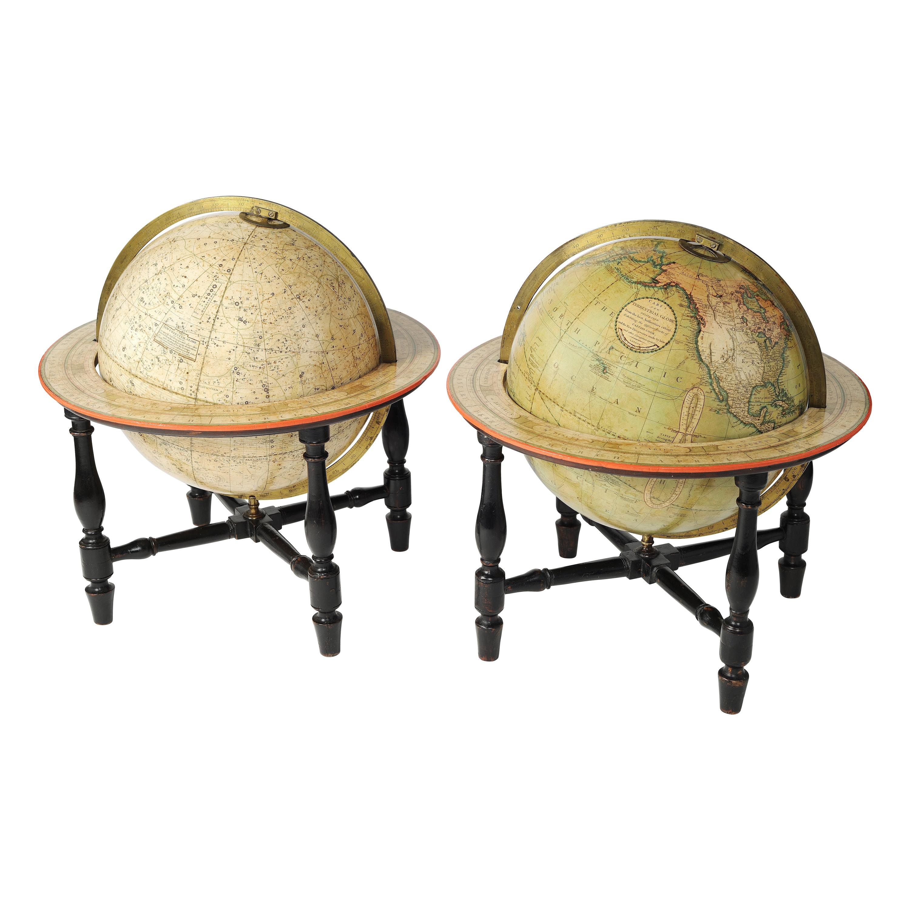 18th Century Pair of English Globes by Cary, 1798 and 1800