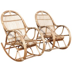 1970s Pair of Spanish Bamboo and Willow Wicker Rocking Chairs