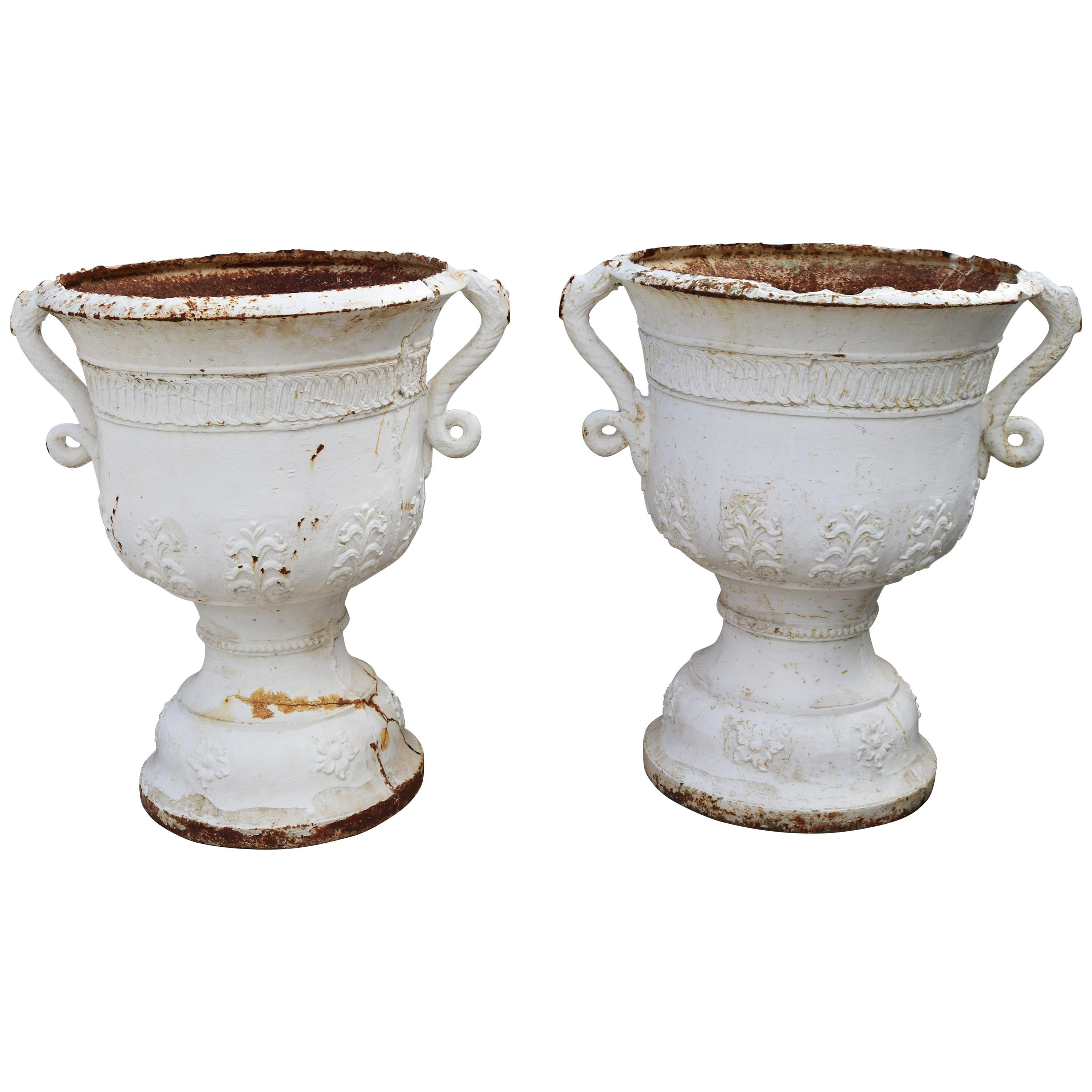 19th Century Pair of Cast Iron French White Garden Urns with Dragon Handles
