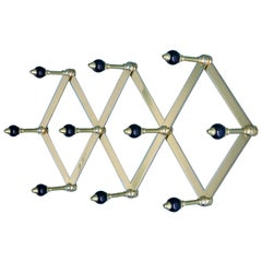 Azucena Coat Hanger in Brass with Lacquered Wooden Knobs