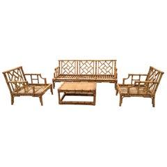 Mid-Century Modern Italian Bamboo Living Room Set, 1970s