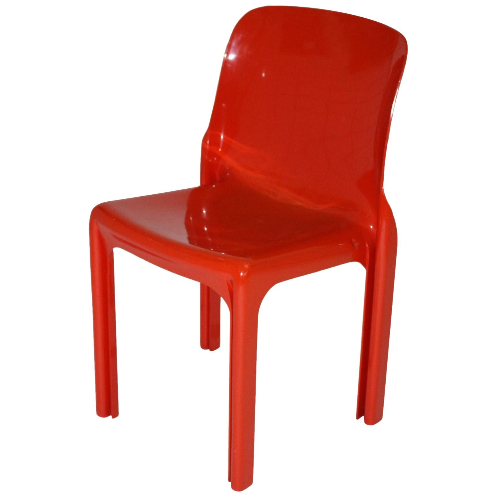 Space Age Red Plastic Vintage Chair Selene by Vico Magistretti, Italy