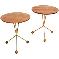 Two Atomic Circular Side Tables by Albert Larsson for Alberts Tibro