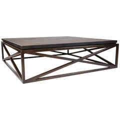 Steel Frame Maple Top Cross Coffee Table