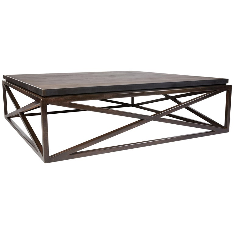 Steel Frame Maple Top Cross Coffee Table For Sale