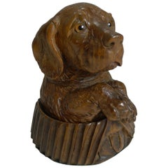 Antique Carved Black Forest Novelty Inkwell, Dog, circa 1880