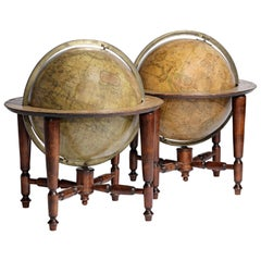 19th Century Pair of English 12-inch Globes by William Harris, 1832 and 1835