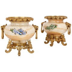 Two Gilt Bronze Mounted, Enamelled Onyx Urns by H. Journet & Cie.