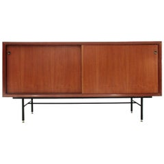 Italian Midcentury Sideboard with Black Glass Top, 1960s