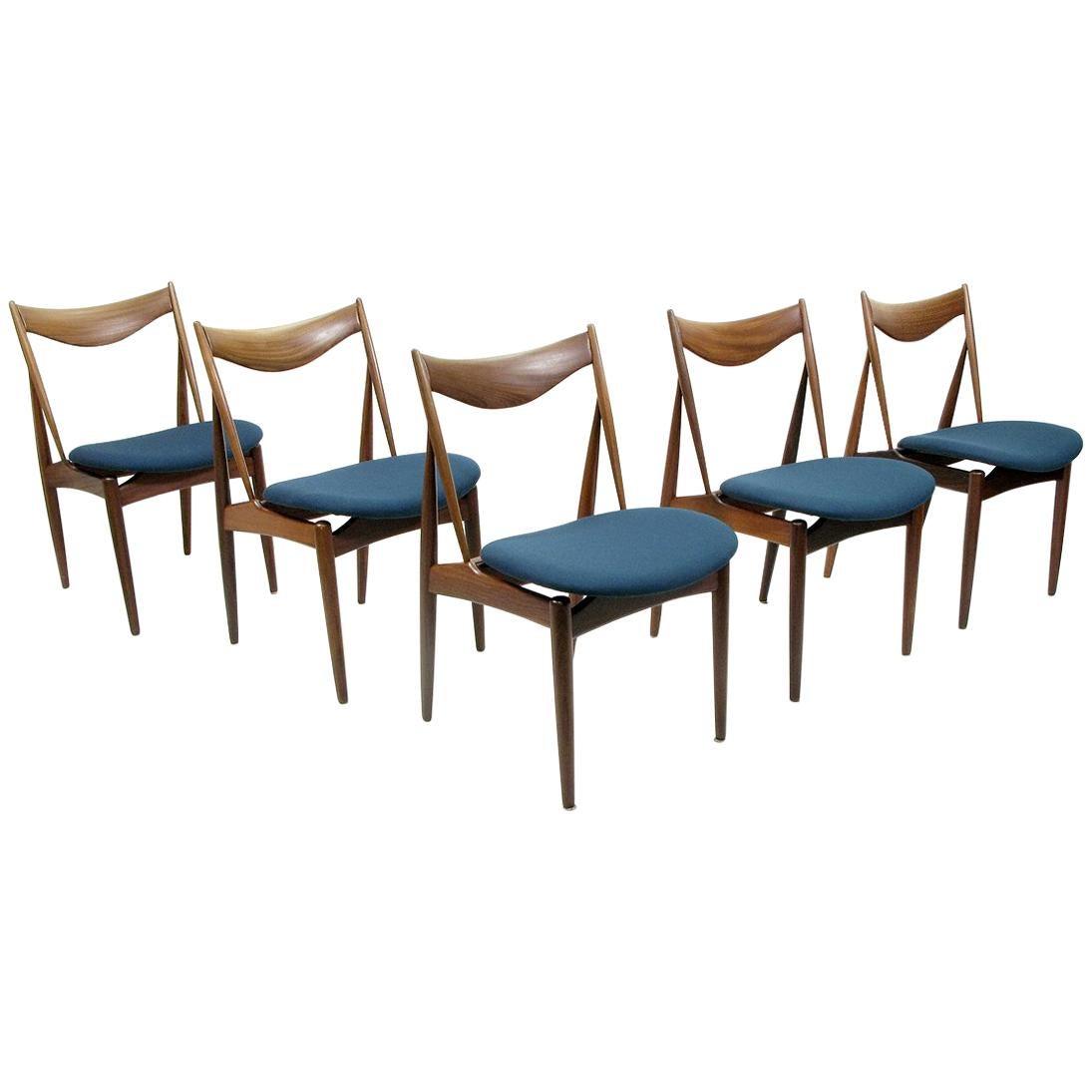 Set of Five Danish Walnut Dining Chairs by Kurt Ostervig