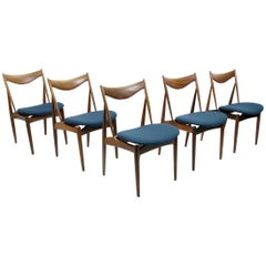 Set of Five Danish Walnut Dining Chairs by Kurt Ostervig