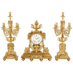 Antique Neoclassical Style Gilt Bronze Clock Set