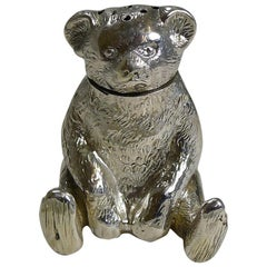 Small English Edwardian Sterling Silver Teddy Bear Pepperette / Pepper Pot