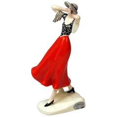 Goldscheider Vienna Dakon Walking Lady with Hat in the Wind Model 6459