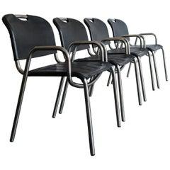 Achille Castiglioni for Zanotta Dining Leather Chairs Model Castiglia, 1960s