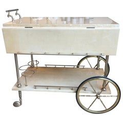 20th Century Cream Parchment Drinks Trolley by Aldo Tura