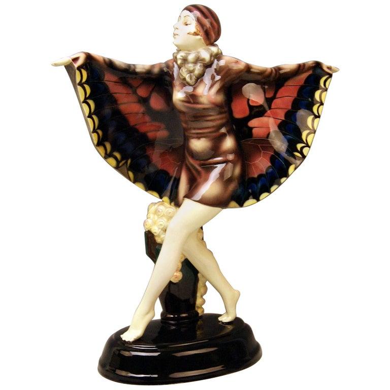 Goldscheider Vienna Lorenzl Dancing Butterfly Lady Captured Bird Nr.5230 For Sale
