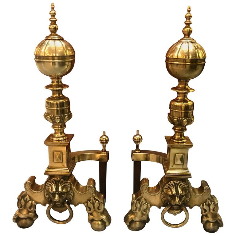 Pair of English Lion Head Georgian Style Andirons For Sale