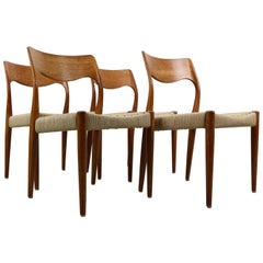 Set of 4 Niels O. Møller Dining Chairs- Model 71, Denmark
